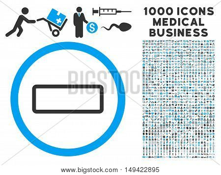 Minus icon with 1000 medical business gray and blue vector design elements. Set style is flat bicolor symbols, white background.