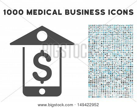 Mobile Bank icon with 1000 medical commerce gray and blue vector design elements. Set style is flat bicolor symbols, white background.