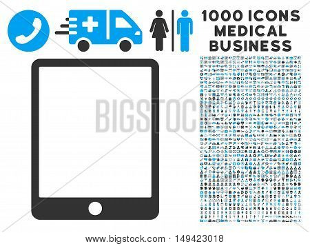 Mobile Tablet icon with 1000 medical commercial gray and blue vector pictograms. Design style is flat bicolor symbols, white background.