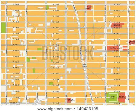 street map theater district, midtown manhattan, new york city