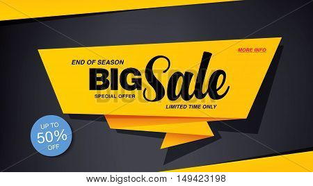 Big sale banner template design. Yellow icon on a dark background