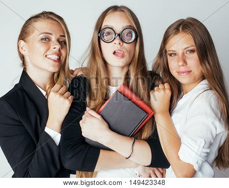 new student bookwarm in glasses against casual group on white, teen drama, lifestyle people concept close up