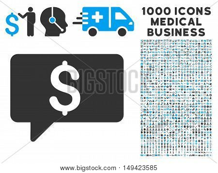 Money Message icon with 1000 medical business gray and blue vector design elements. Clipart style is flat bicolor symbols, white background.