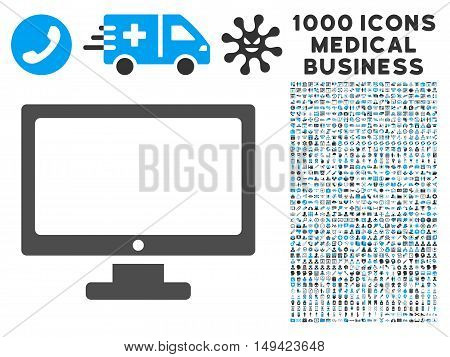 Monitor icon with 1000 medical commercial gray and blue vector pictographs. Clipart style is flat bicolor symbols, white background.