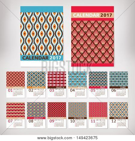 2017 year stylish calendar with patterns vector illustration