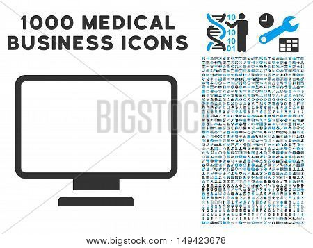 Monitor icon with 1000 medical commerce gray and blue vector pictograms. Collection style is flat bicolor symbols, white background.