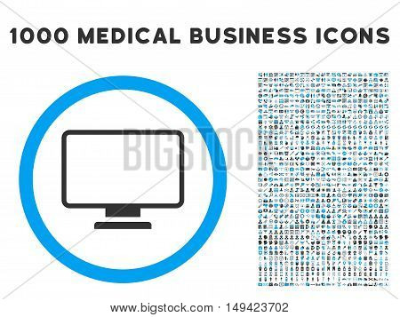 Monitor icon with 1000 medical commerce gray and blue vector pictographs. Set style is flat bicolor symbols, white background.