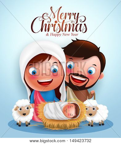 Belen with jesus born in manger, belen with joseph and mary vector characters  in christmas night with Merry Christmas greetings.