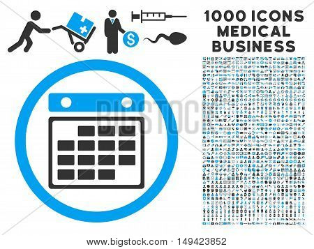 Month Calendar icon with 1000 medical business gray and blue vector pictograms. Design style is flat bicolor symbols, white background.