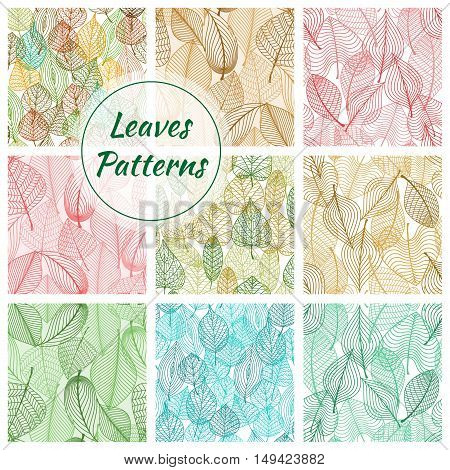 Textured stylized vector leaves patterns. Green, pink, blue, red, brown decorative imprint lines of plants and trees leaves. Seamless decoration background