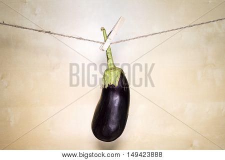 Eggplant On Wooden Background