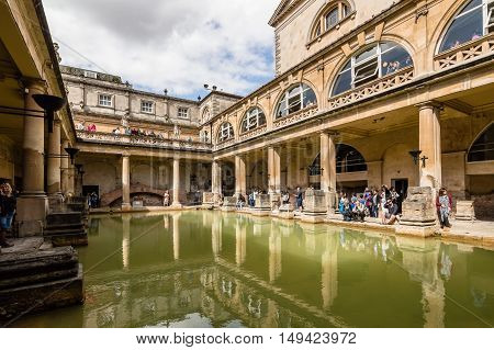 Bath UK - August 15 2015: The Roman Terms complex is a site of historical interest in the English city of Bath. The Baths are a major tourist attraction