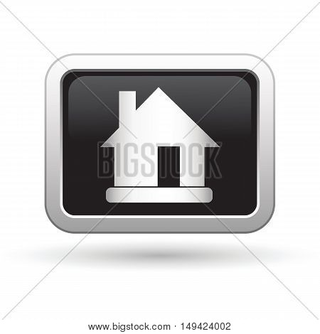 House Icon on the button. Vector illustration