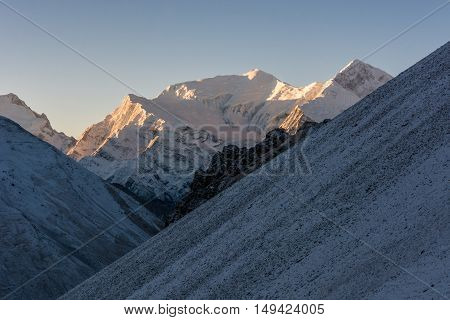 Dawn rising in mountains. Early snow covering Annapurna region at 5000 m.