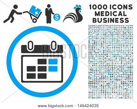Month Calendar icon with 1000 medical commercial gray and blue vector pictographs. Set style is flat bicolor symbols, white background.