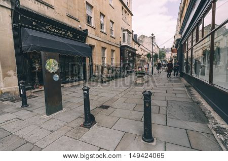 Bath UK - August 15 2015: Pedestrian street near Royal Crescent in Bath