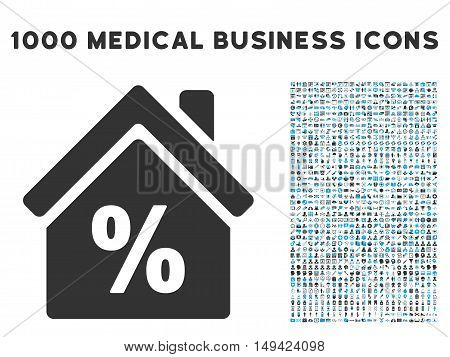 Mortgage Discount icon with 1000 medical business gray and blue vector design elements. Clipart style is flat bicolor symbols, white background.