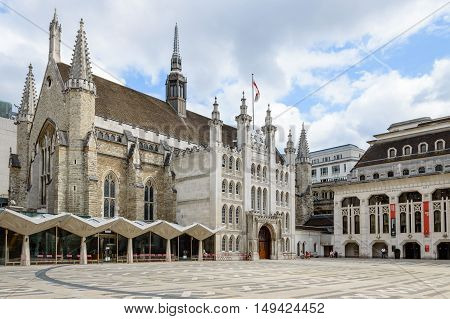 LONDON UK - AUGUST 21 2015: The London Guildhall is home to the City of London Corporation and acts as a venue for royal occasioning banquets and other various prestigious events.