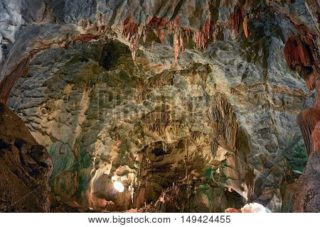beautiful cave with stalactites and stalagmites in Thailand