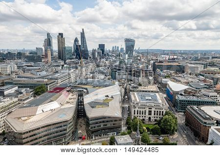 LONDON UK - AUGUST 21 2015: High angle view of London in a cloudy sky day from St Pauls Dome