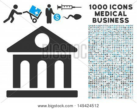 Museum Building icon with 1000 medical commercial gray and blue vector pictograms. Set style is flat bicolor symbols, white background.