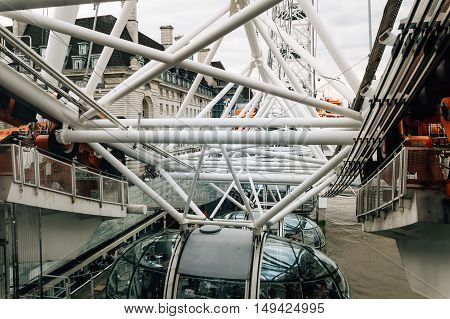 LONDON UK - AUGUST 23 2015: London Eye structural detail in a cloudy morning.