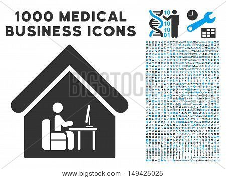 Office Room icon with 1000 medical business gray and blue vector pictograms. Collection style is flat bicolor symbols, white background.