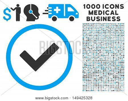 Ok icon with 1000 medical commercial gray and blue vector pictographs. Clipart style is flat bicolor symbols, white background.