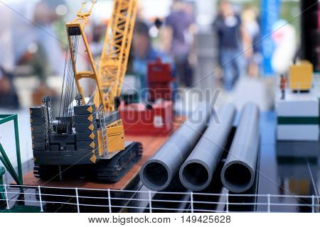 Construction site in miniature with taps and pipes