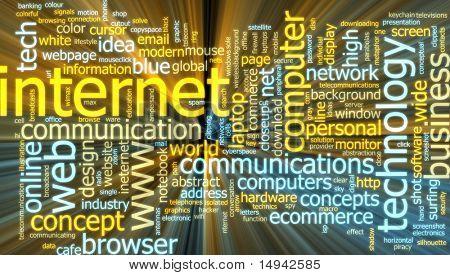 Word Cloud Konzept Illustration Internet Web glühend Lichteffekt