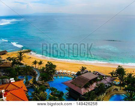 Bali, Indonesia - December 30, 2008: The beach of ocean taken in Nusa Dua Grand Nikko Bali. Hotel is located in Nusa Dua, Bali.