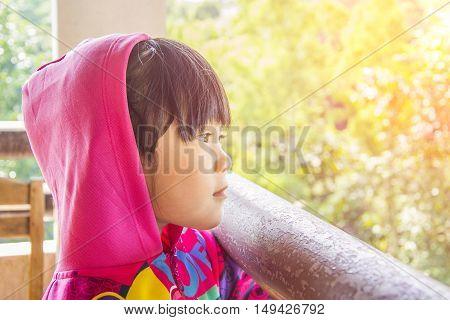 GIRL WAITING KHAOKO DECEMBER16,2015 : A girl waiting at district KHAOKO PETCHABOON in THAILAND DECEMBER16,2015