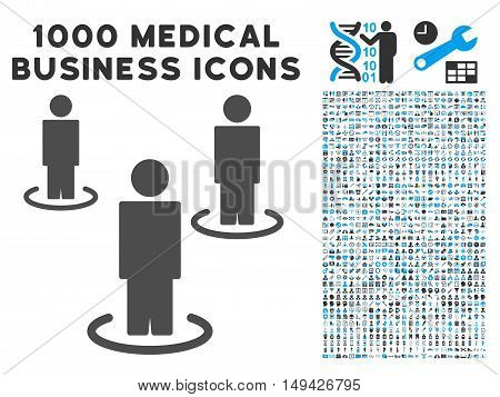 People icon with 1000 medical commerce gray and blue vector pictographs. Collection style is flat bicolor symbols, white background.