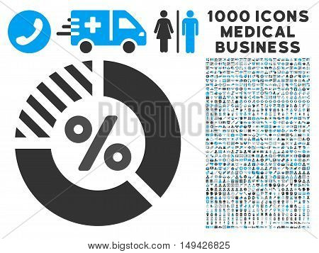 Percent icon with 1000 medical business gray and blue vector design elements. Clipart style is flat bicolor symbols, white background.