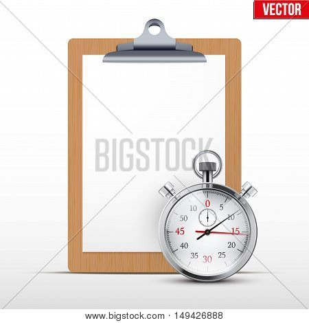 Coaching blank clipboard and stopwatch. Sport or business illustration. Editable Vector illustration Isolated on white background.