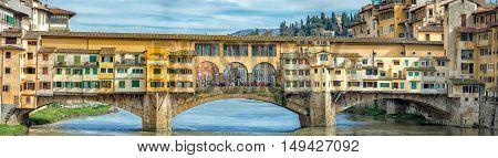 Florence Ponte Vecchio bridge view cityscape pano