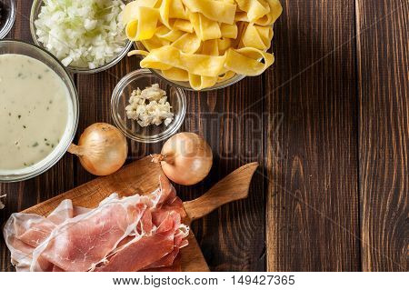 Ingredients Ready For Preparing Pappardelle With Prosciutto And