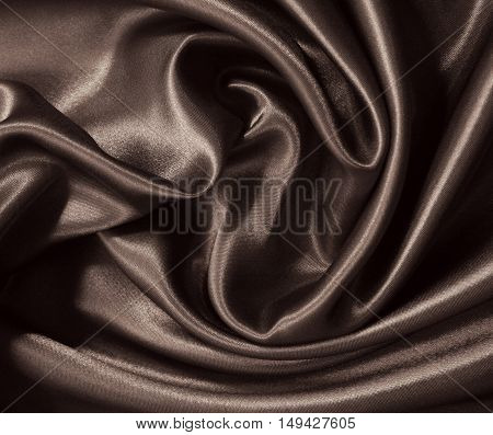 Smooth Elegant Brown Silk Or Satin As Background. In Sepia Toned. Retro Style