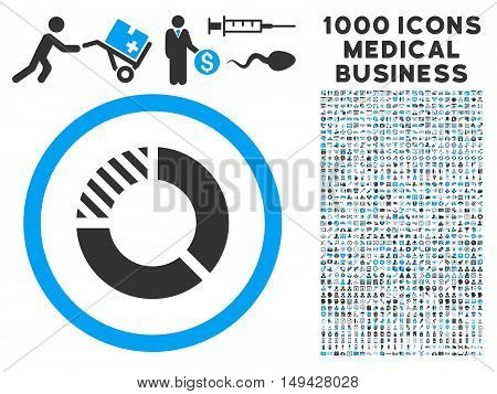 Pie Chart icon with 1000 medical business gray and blue vector pictograms. Set style is flat bicolor symbols, white background.