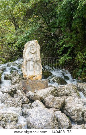 Sculpture Of An Old Hermit, Blue Lake, Abkhazia.