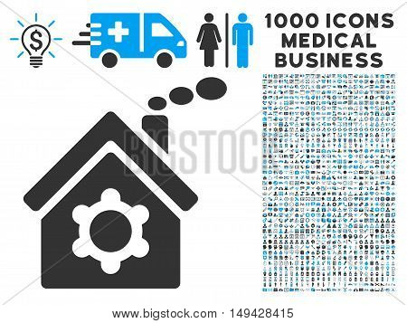 Plant Building icon with 1000 medical business gray and blue vector pictograms. Design style is flat bicolor symbols, white background.