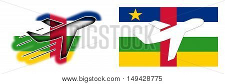 Nation Flag - Airplane Isolated - Central African Republic