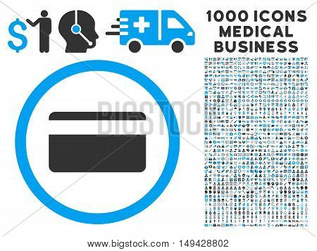 Plastic Card icon with 1000 medical commerce gray and blue vector design elements. Set style is flat bicolor symbols, white background.