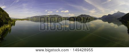 Aerial view panorama from Mondsee Austria Europe