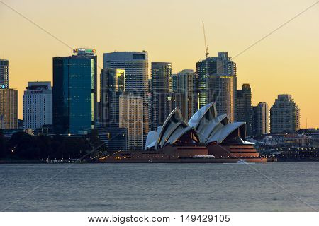 Sydney Opera House and Circular  Quay NSW  Australia  at sunset  Sep 29,2016