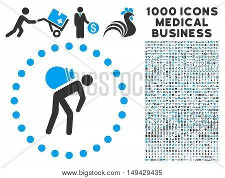 Porter icon with 1000 medical business gray and blue vector design elements. Set style is flat bicolor symbols, white background.