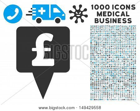Pound Map Pointer icon with 1000 medical business gray and blue vector pictograms. Clipart style is flat bicolor symbols, white background.
