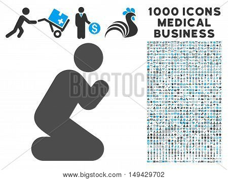 Pray Pose icon with 1000 medical commerce gray and blue vector pictographs. Set style is flat bicolor symbols, white background.