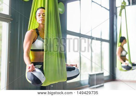Yoga in hammock