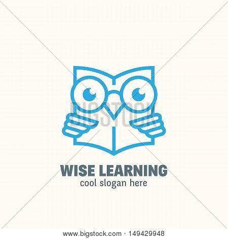 Line Style Smart Education Abstract Vector Logo Template. Learning Emblem. Outline Wise Owl Reading Book Concept with Typography. Isolated.